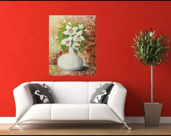 ORIGINAL White Flower Bouquet in Vase Art Acrylic painting Abstract art Canvas Wall Art Home Decor Painting Palette knife Art Gift woman