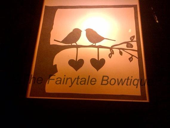 Love Birds Paper Cutting in a frame