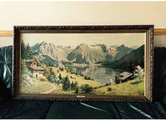 Vintage Large Rectangular Picture Frame Framed Wall Art