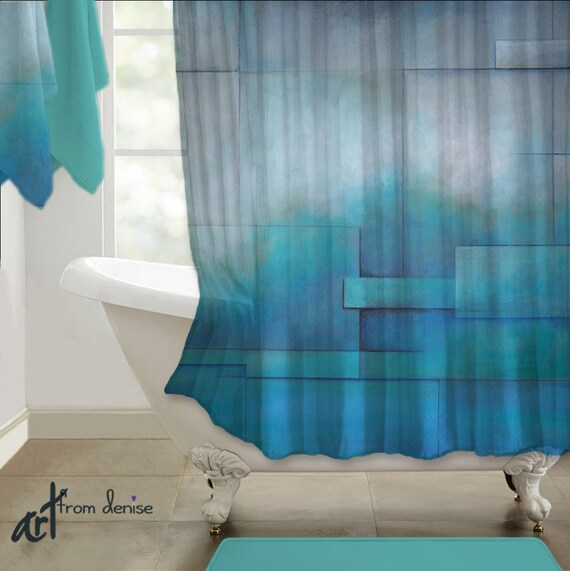 Gray And Teal Abstract Shower Curtain Art Turquoise Modern
