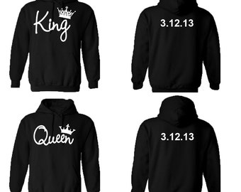 KING QUEEN couple hoodies, personalized Back custom Dates, comes in a pair, Matching hoodie, Anniversary gift **BOTH