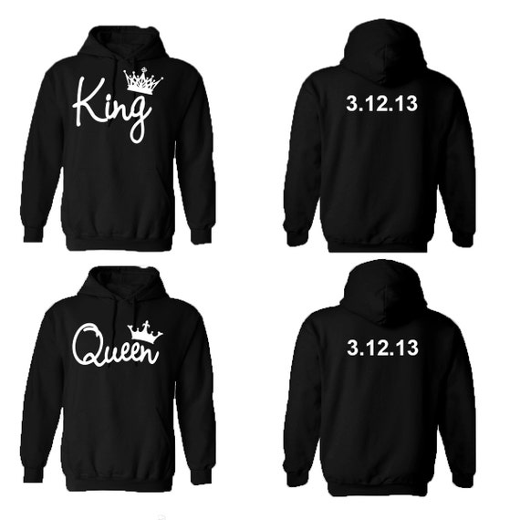 king queen couple hoodies personalized back custom dates. Black Bedroom Furniture Sets. Home Design Ideas