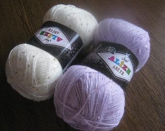 ALIZE yarn with sequin, fancy yarn, glitter yarn, acrylic yarn, lurex, shawl yarn, knitting yarn, crochet yarn, summer yarn, yarn for sale