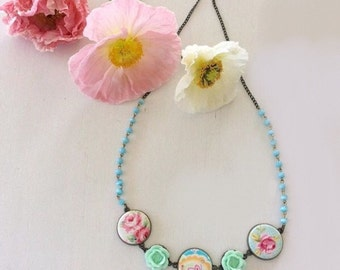 Pastel button flower necklace