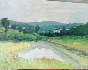 Oil painting landscape painting field