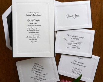 A Classic Wedding Invitation Set - Raised Print Wedding Invite - Sophisticated Wedding Invitation Suite - Custom Wedding Invitation - AV221