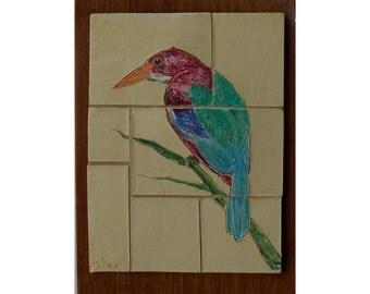 Kingfisher Ceramic Bird Tile
