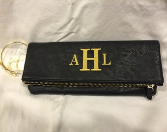 Monogrammable Leather Clutch With Gold Bangle Twist