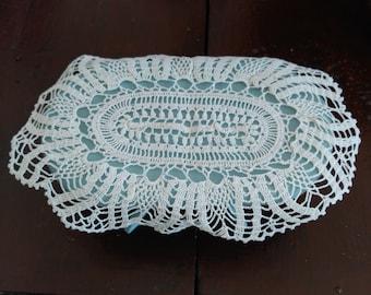 Crochet doily oval table