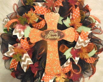 Cross Wreath, Fall Wreath, Fall Wreaths, Harvest Wreath,Thanksgiving Wreath, Happy Thanksgiving Wreath, Happy Harvest Wreath