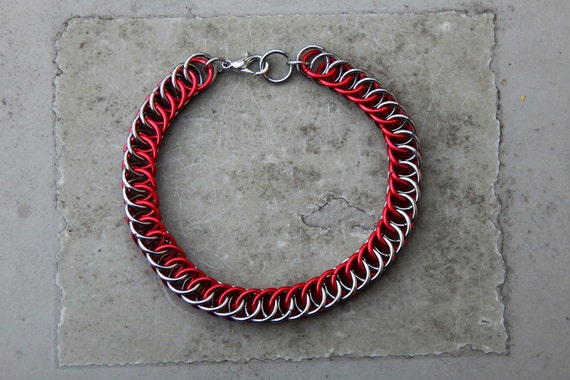 Stainless Steel & Red Anodized Aluminum Half Persian 4 in 1 Chainmaille Bracelet