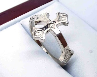 White gold ring with cross, palladium gold ring cross, white gold women ring with cross