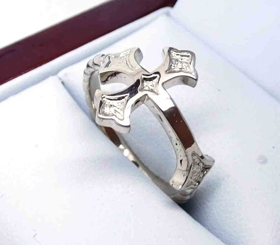 white gold ring with cross palladium gold ring cross by
