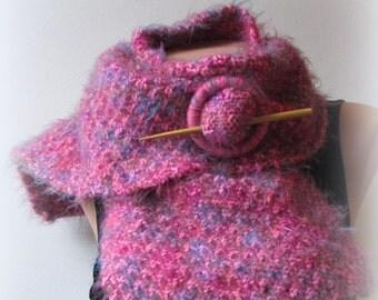 Knitted Scarf & Shawl pin Set Hot Pink