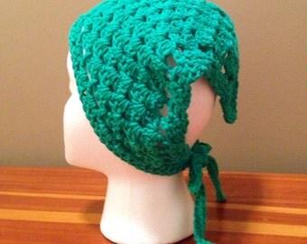 Crochet Kerchief, Hair Bandana, Green