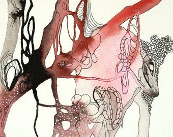 "Anatomical Art, Ink drawing , Abstract Watercolor Painting original art,  ink art modern art wall art ORIGINAL painting 9 x 9"""
