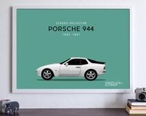 Porsche 944 Runner Classic Vintage Car Mid Century Minimalist Scandinavian Fathers Day Dad Gift Birthday Wall Print Poster Art A2 A3 A4 A5