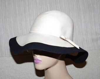 ADOLFO II New York Paris Ivory Black Wool Felf Women Hat