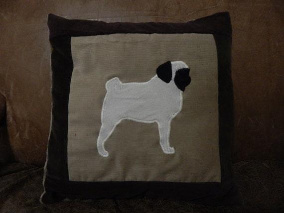Decorative Dog Themed Pillows : Custom PUG DOG Silhouette Themed Pillow //Couch Pillow Decor