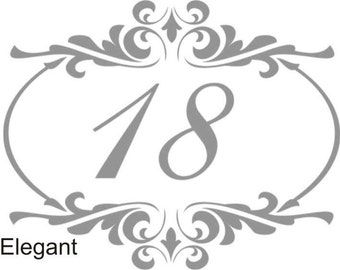 Frosted House Number for Glass Window/Door Decal - Art Deco, Art Nouveau, Elegant, Circles