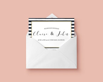 Black and White Stripe Save the Date Printable