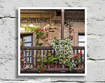 Fine Art Print, Wood Veranda Bursting with Flowers in Comillas, Spain