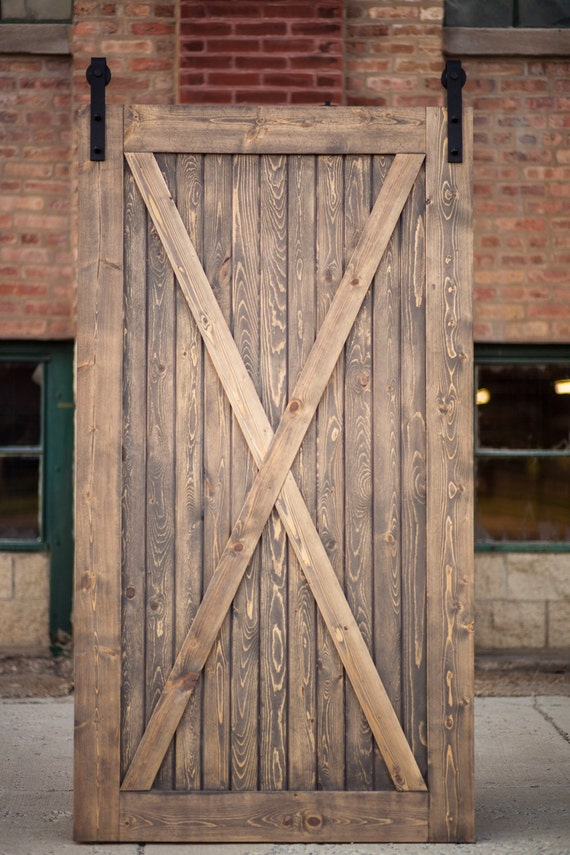 Fully Assembled Rustic distressed Grey Barn Door