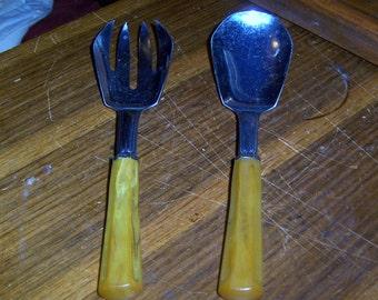 Butterscotch Bakelite Handled Salad Serving Fork and Spoon