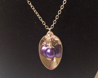 Purple Pearl Spoon Pendant Necklace