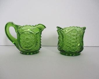 Vintage Pressed Riverside Glass Oneta Childs Cream & Sugar Green Antique 1907