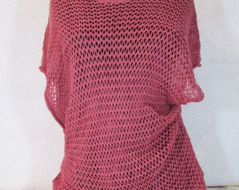 Vintage crochet blouse Pink crochet blouse Handmade blouse Top for women in pink color Cotton blouse Gift for her Knit poncho