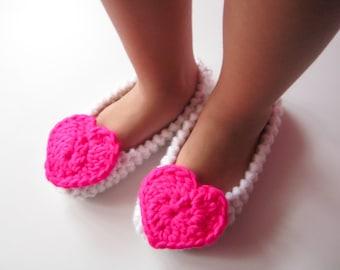Little Girls Slippers, Ballet Flats, Toddler Flats, Child Slippers, Crochet Slippers, Kids Wedding Shoes, Girls Slippers With Pink Heart