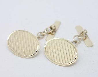 Engraved Cufflinks - 9ct Gold - Oval