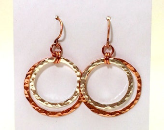 Mixed Metal Double Hoop Earrings, Copper & Sterling Silver Earrings, Hammered Earrings, Circle Earrings