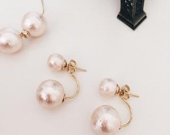Pink cotton pearl / 2 way earrings  ,Wedding jewelry,Bride,Bridesmaid jewelry