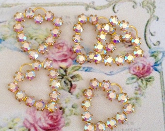 6 pieces sparkly swarovski ab aurora borealis crystal hearts in brass setting one ring loop charm no.mh621-8