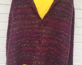 handwoven multicolored purple silk and cotton shawl