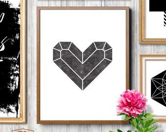 Minimalist, heart, diamond heart, minimalist print, Scandinavian prints, modern print, heart print, minimalist wall art, modern love art