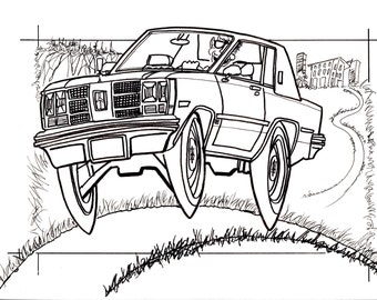 1978 Olds Delta 88, Drawing, Truck, 4x4, RC, Crawler, Car, Coloring, Book, Digital, Download, Art, Doodle, Cartoon