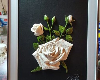 3D handmade roses with dew effect