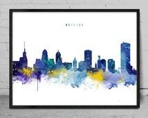 Buffalo Skyline, New York Citys Skyline, Watercolor ArtPrint, New York Wall Art, Buffalo poster, Cityscape, City Wall art, Artwork -x136