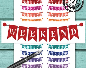 Weekend Planner Stickers Printable Planner Stickers Download Planner Stickers (ni44)