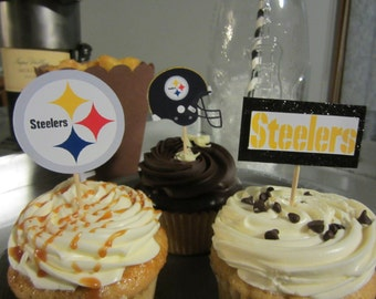 Cupcake toppers, party supplies, Pittsburgh Steelers, football
