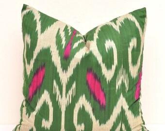 20 x 20 inch green throw pillow - green ikat cushion - Ikat pillow - pillow cover - cotton cushion -decorative pillow - designer pillow