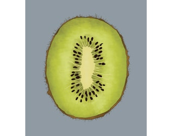 Kiwi A4 Print / Postcard - Digital Illustration Art Print