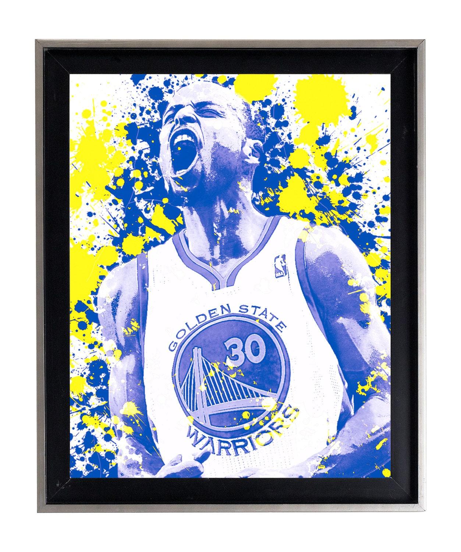 Blue apron yellow curry - Watercolor Stephen Curry Rage Splatter Art Print Matte Print Poster Sports Edit