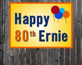 Happy Birthday Banner, 80th Birthday, Colored Balloons Personalised Banner.
