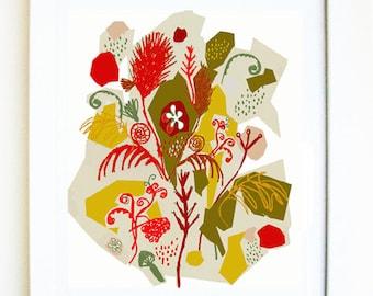 Forest, PRINT of an original mixed media illustration, plant illustration, flower illustration, wall art, flower design, mid century floral