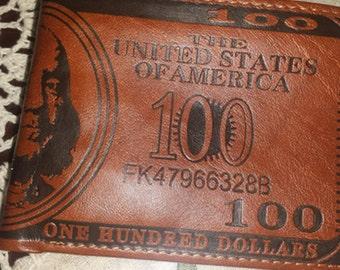 Men US Dollar Bill Wallet Leather Credit Card Photo Holder Bifold Billfold (dark brown)