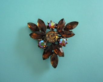 Topaz and AB Rhinestone Pin Brooch